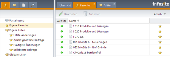 InfoSite 6 Screenshot - Favoriten